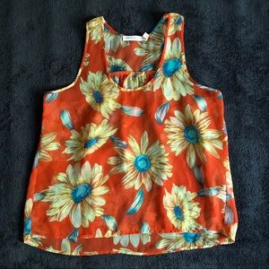 M4EO sheer orange daisy tank